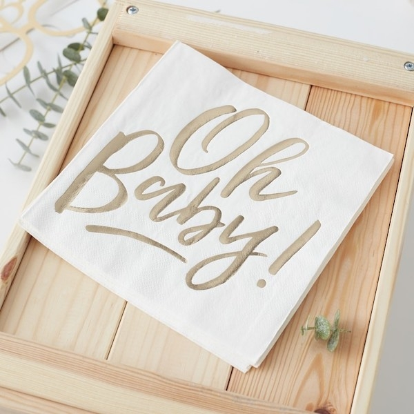 OH BABY – Servietten in Weiß/ Gold - 16 Stück