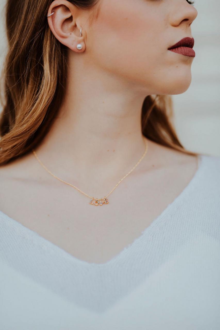 LOVE – Halskette in Bunt