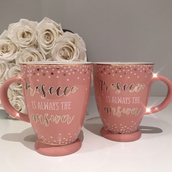 PROSECCO PARTY – Tasse in Pink/Weiß/Gold