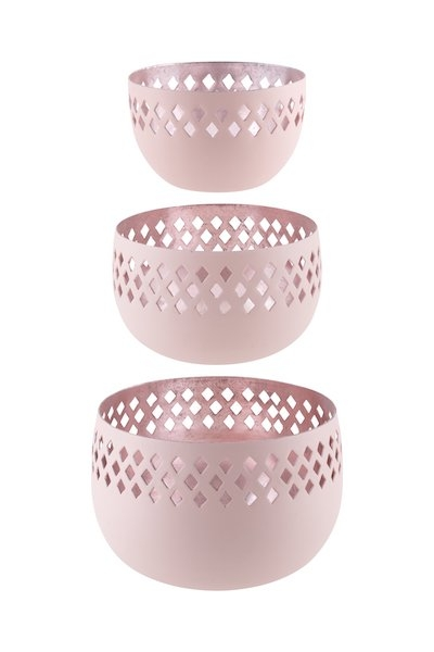 MADRAS ROSA – 3er Set Windlichter