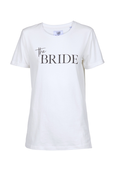 THE BRIDE – T-Shirt mit Print in blanc de blanc