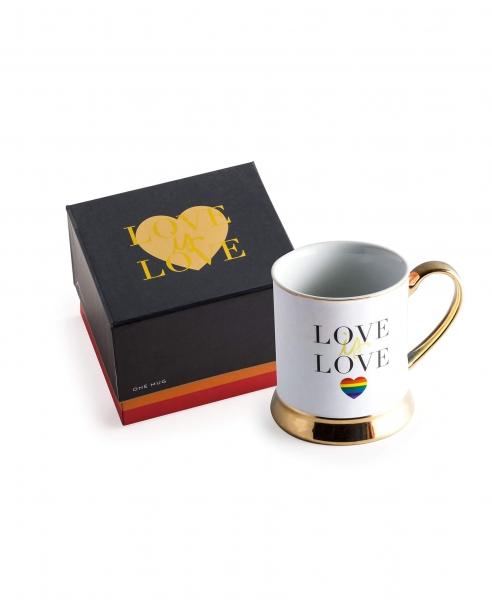 """""""LOVE IS LOVE"""" TASSE IN WEISS/GOLD/SCHWARZ"""