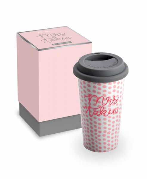 MRS TAKEN – Coffe-To-Go-Becher in Weiß/Rosa