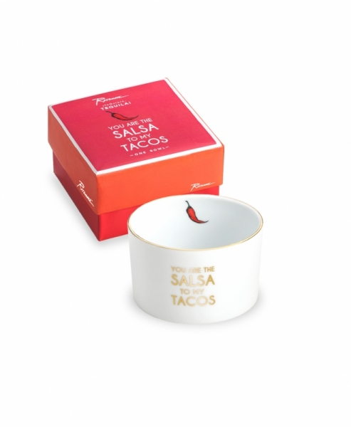 "PORZELLANSCHALE ""YOU ARE THE SALSA TO MY TACO"" IN WEISS/GOLD"