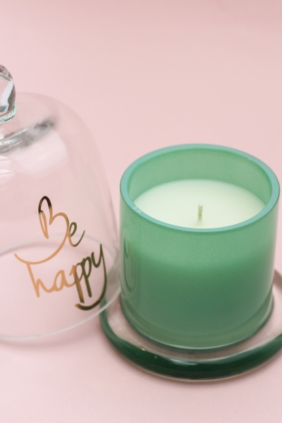 "BE HAPPY GREEN - Duftkerze mit Glocke ""Happy"""
