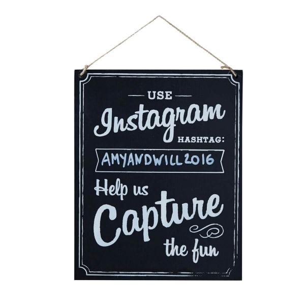 Instagram-Holzschild: Hochzeits-Hashtag
