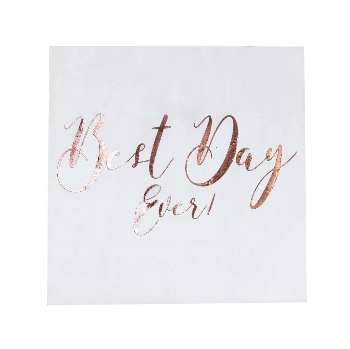"""Servietten """"Best Day Ever"""" in Weiß/Roségold – 20 Stück"""