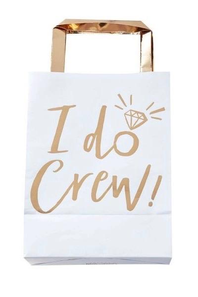 I DO CREW – Party-Tüten in Weiß/Gold – 5 Stück