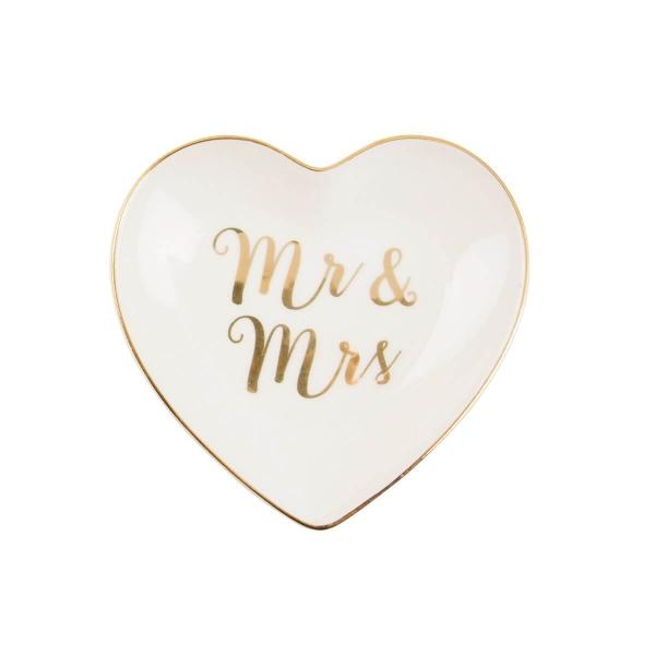 "Ringschale ""MR & MRS"" in Weiß/Gold"