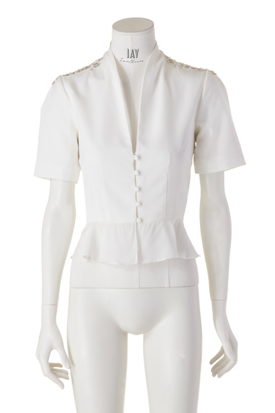 ZETTERBERG Bluse ,FLORA' in White beaded