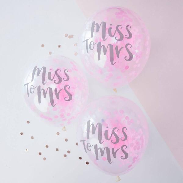 """BALLONS """"MISS TO MRS"""" MIT KONFETTI IN ROSA – 5 STÜCK"""