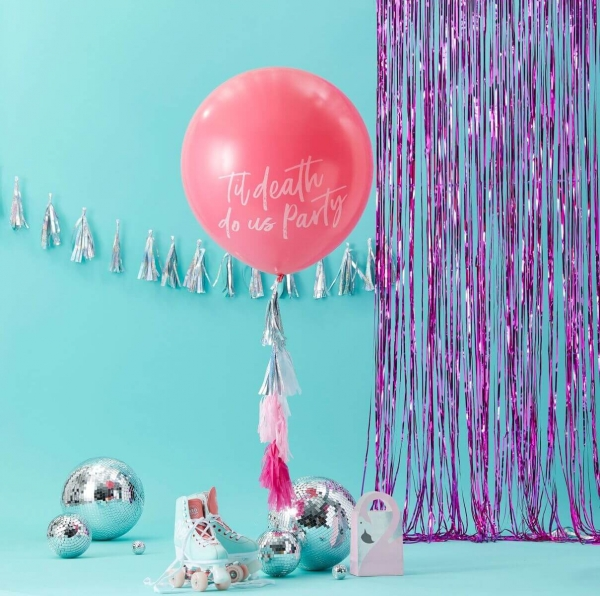 "RIESEN BALLON ""TIL DEATH DO US PARTY"" MIT QUASTEN IN PINK"