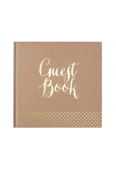 "Gästebuch ""Guest book"" in Braun/Gold"