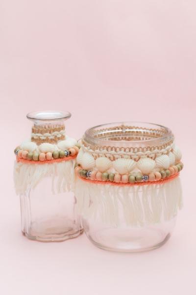 SHELLS VASE -  2 Muschel Vasen in beige