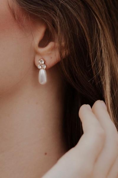 SIMPLE PEARL CRYSTALS - schlichte Ohrringe in silber