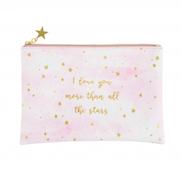 "KOSMETIKTASCHE ""LOVE YOU MORE"" MIT STERNEN IN ROSA/GOLD"
