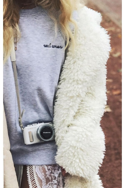 IAY Sweatshirt 'Real Amori' in Grau - Limited Edition