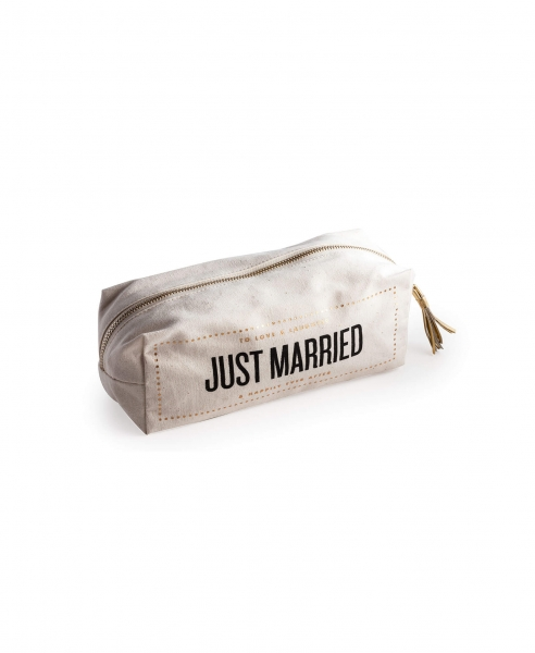 "KOSMETIKTASCHE ""JUST MARRIED"" IN NATUR/SCHWARZ/GOLD"