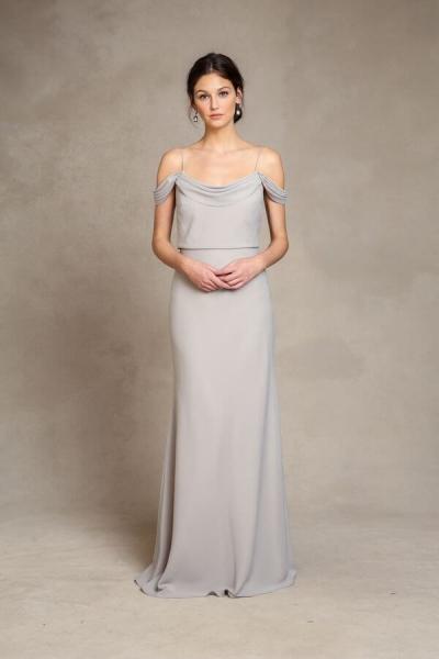 JENNY YOO Bridesmaid Seidenkleid 'SABINE' in Navy