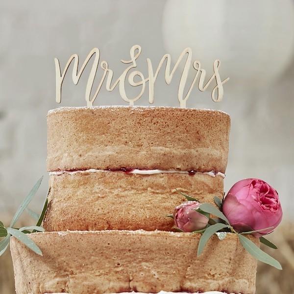 MR & MRS – Cake-Topper aus Holz