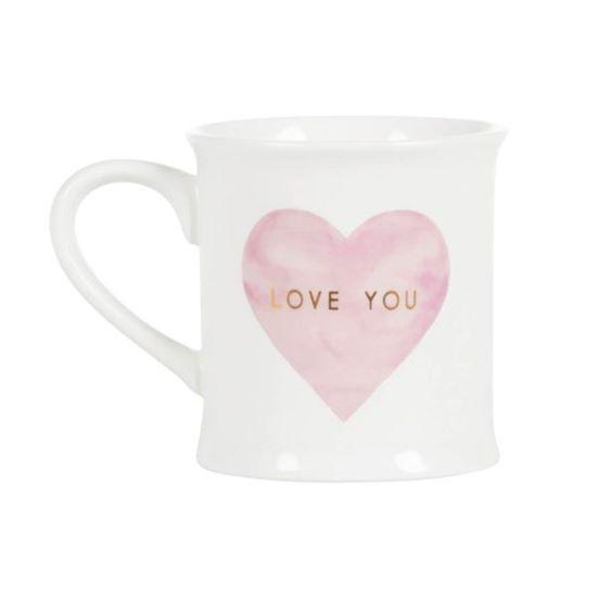 Tasse LOVE YOU mit rosa Herz und goldener Schrift