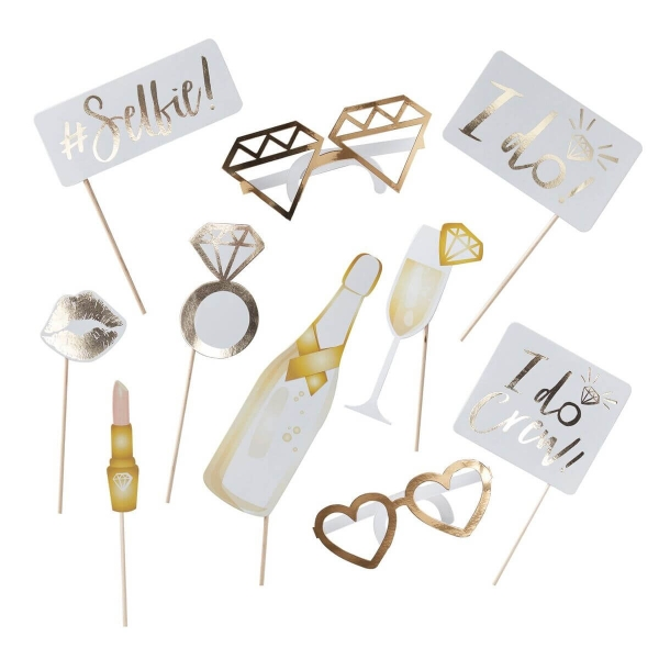 "PHOTO-BOOTH SET ""I DO CREW"" IN GOLD/WEISS – 10 STÜCK"