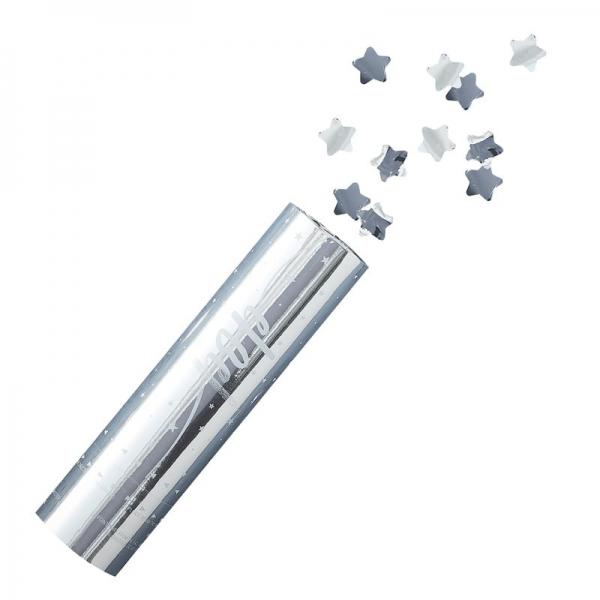 SILVER STARS – Konfetti Kanone - 3 Stück