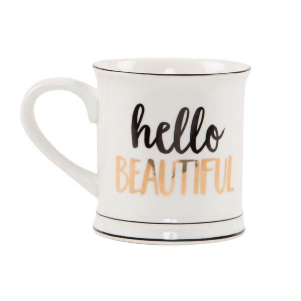 'Hello Beautiful' Tasse in Weiß/Schwarz/Gold