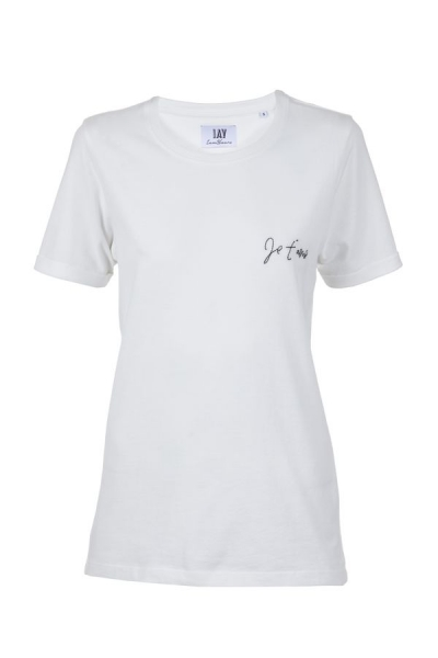 T-Shirt 'Je t'aime / Amour Club' in blanc de blanc