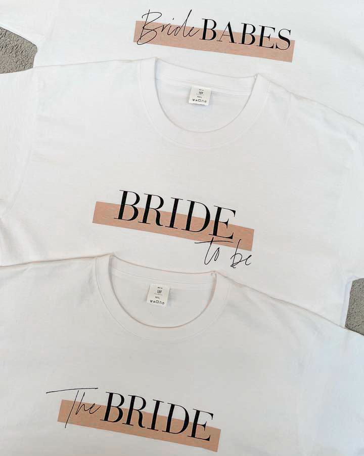 BRIDE TO BE  – Bridal T-Shirt mit Print *new colour – romantic peach*