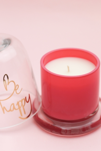 "BE HAPPY PINK - Duftkerze Glocke ""Happy"""