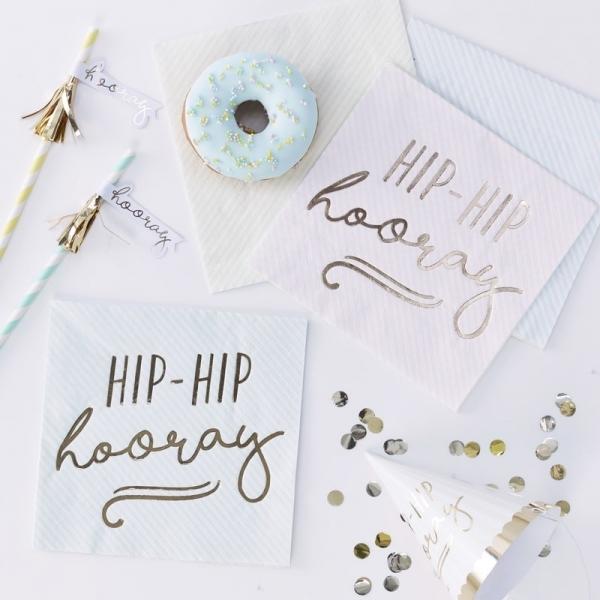 HIP HIP HOORAY – Servietten in Pastellfarben - 16 Stück