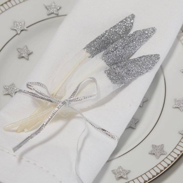 Deko Federn in Weiß/Silber - 10 Stück