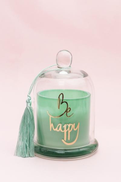 """BE HAPPY GREEN - Duftkerze mit Glocke """"Happy"""""""