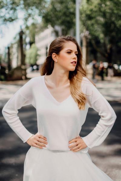 MILLY MAGLIA - V-Neck Pullover in Weiß aus Cashmere