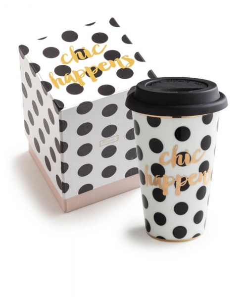 "PORZELLAN COFFEE-TO-GO-BECHER ""CHIC HAPPENS"" IN SCHWARZ/WEISS/GOLD"