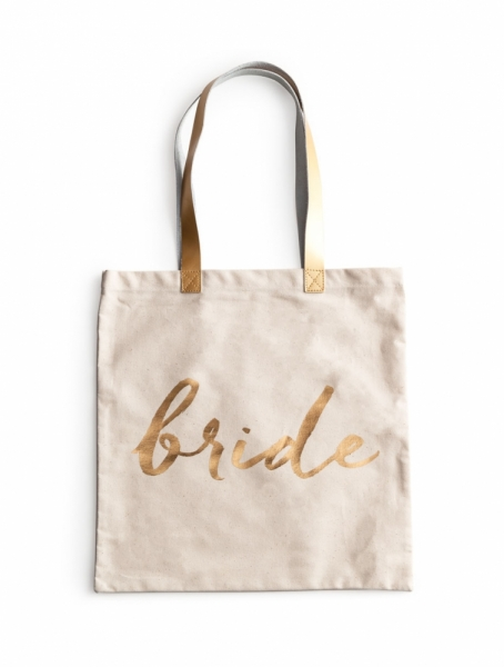 "CANVAS TASCHE ""BRIDE"" IN NATUR/GOLD"