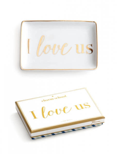 I LOVE US – Ringschale in Weiß/ Gold