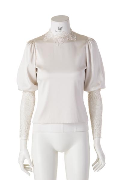 ZETTERBERG Bluse mit Spitzenärmeln in Taupe silk