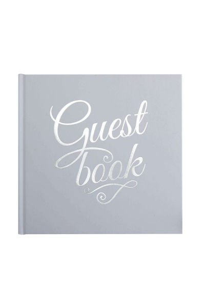 """Gästebuch """"Guest book"""" in Weiß/Silber"""