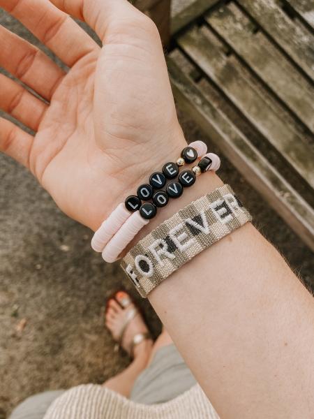"Armband Bride Tribe, ""LOVE"" - Bracelet-Rosa-Black"