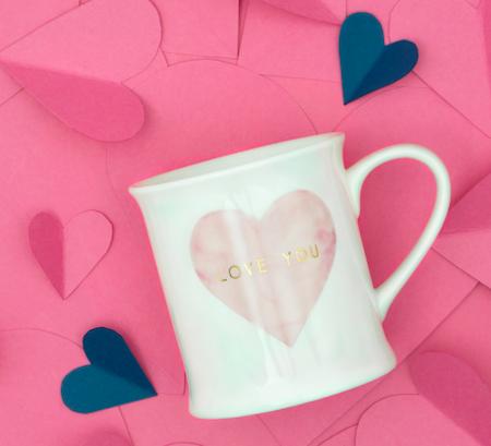 LOVE YOU – Tasse mit rosa Herz