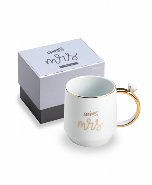 """MRS"" TASSE IN WEISS/GOLD"